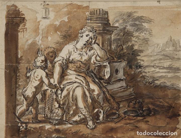 LAMENTO DE DIDO. AL DORSO MONTAÑAS DE MONTSERRAT. 1771. AGUADA MARRON Y TINTA. 14 X 18,5 CM (Arte - Dibujos - Antiguos hasta el siglo XVIII)