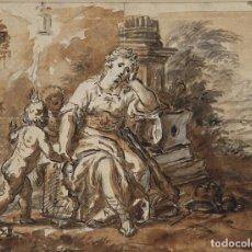 Arte: LAMENTO DE DIDO. AL DORSO MONTAÑAS DE MONTSERRAT. 1771. AGUADA MARRON Y TINTA. 14 X 18,5 CM. Lote 222349713