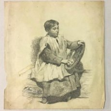 Arte: DIBUJO ORIGINAL FUIMRADO F. SANS CASTAÑS 1847. MONAGUILLO.. Lote 222436233