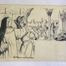 Arte: DIBUJO ORIGINAL FIRMADO J. RAMÓN. HISTORIETA - MONJAS - CLAUSTRO - NIÑOS. 15X23,5 CM.. Lote 222444342