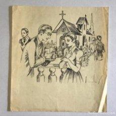 Arte: DIBUJO ORIGINAL FIRMADO MORALES. HISTORIETA. CHICO Y CHICA. IGLESIA. 16X22 CM. 22X20 CM.. Lote 222444535