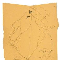 Arte: JOAN MIRÓ DIBUJO ORIGINAL DE 1977 FEMME MUJER FIRMADO GRAFITO CERTIFICADO ADOM PILAR JUNCOSA. Lote 222465332