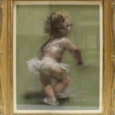 Arte: MONTSERRAT BARTA PRATS (BCN 1906-1988) PASTEL SOBRE PAPEL CON FIGURA INFANTIL. Lote 222575607