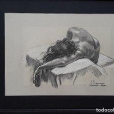 Arte: JOAN SEGURANYES(VIC) : DIBUJO ORIGINAL DE LÁPIZ Y CLARIÓN, TORSO DE MUJER POSANDO. ENMARCADO ACTUAL.. Lote 222696241