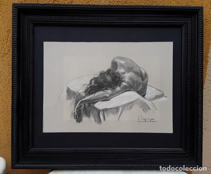 Arte: Joan Seguranyes(VIC) : Dibujo original de lápiz y clarión, torso de mujer posando. Enmarcado actual. - Foto 8 - 222696241