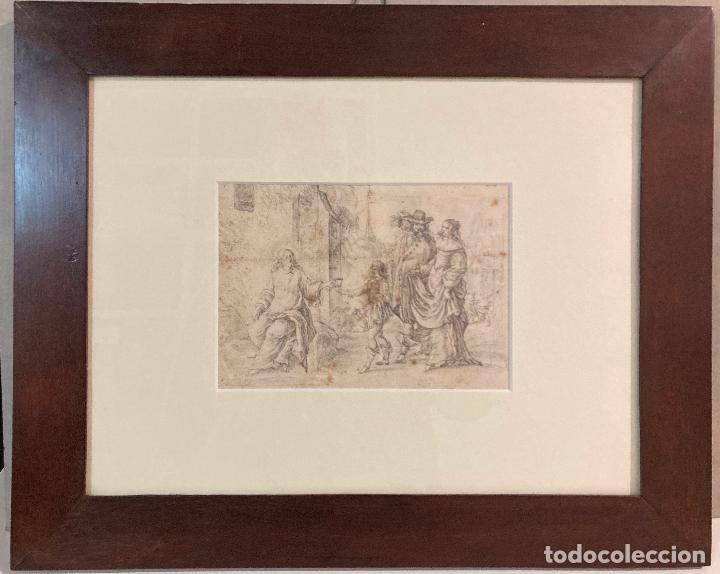 Arte: PERE ARRAU. ESCENA DE LA VIDA DE JESÚS. SIGLO XVIII. LÁPIZ, TINTA Y AGUADA. 11,5 x 22,5 cm - Foto 2 - 222727568