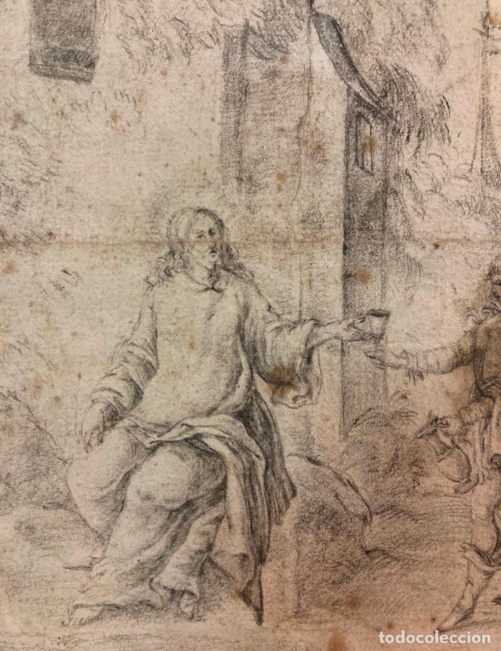 Arte: PERE ARRAU. ESCENA DE LA VIDA DE JESÚS. SIGLO XVIII. LÁPIZ, TINTA Y AGUADA. 11,5 x 22,5 cm - Foto 4 - 222727568
