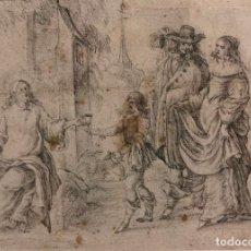 Arte: PERE ARRAU. ESCENA DE LA VIDA DE JESÚS. SIGLO XVIII. LÁPIZ, TINTA Y AGUADA. 11,5 X 22,5 CM. Lote 222727568
