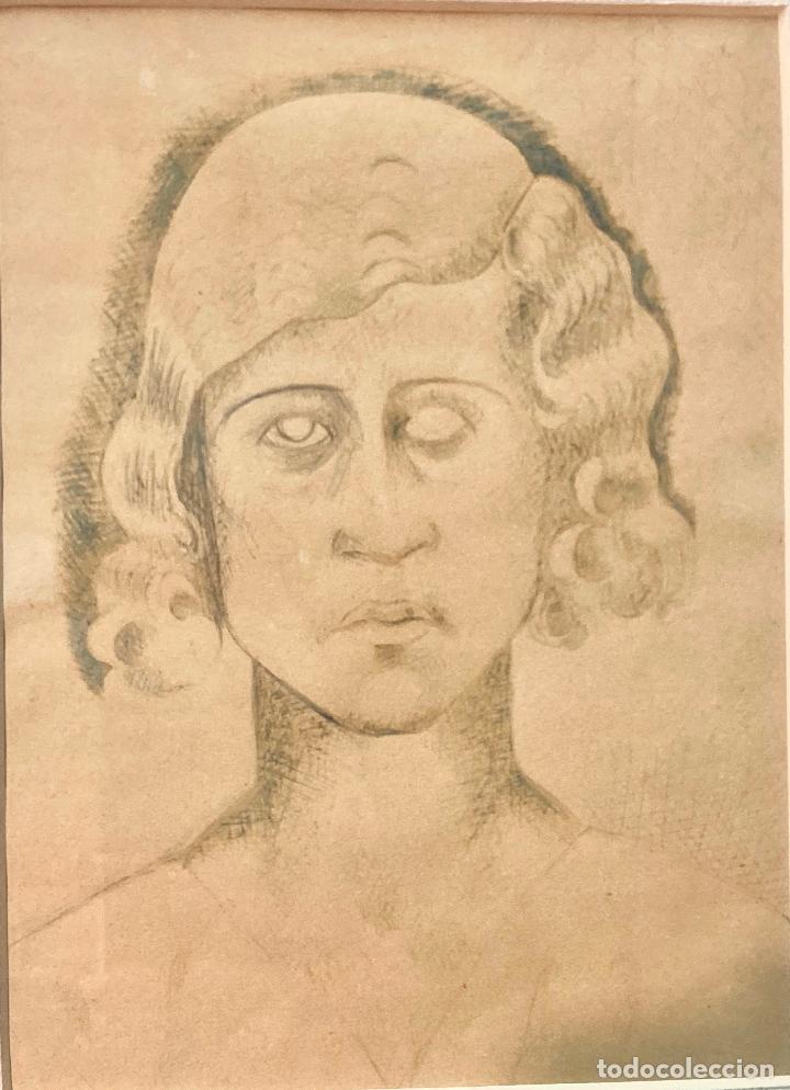"""Arte: MANOLO HUGUÉ (1872-1945). """"SOLEDAD"""", CIRCA 1930.Tinta. 22 x 16 cm - Foto 3 - 222728177"""