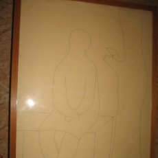 Arte: DIBUJO MUJER Y PAJARO ENMARCADOR Y CON CRISTAL FIRMADO GALPARSORO 63. Lote 222958523