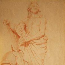 Arte: ESCUELA FRANCESA. HACIA 1800. MONUMENTO A GEORGE LOUIS LECLERC, CONDE DE BUFFON. SANGUINA. 34 X 22. Lote 223422403