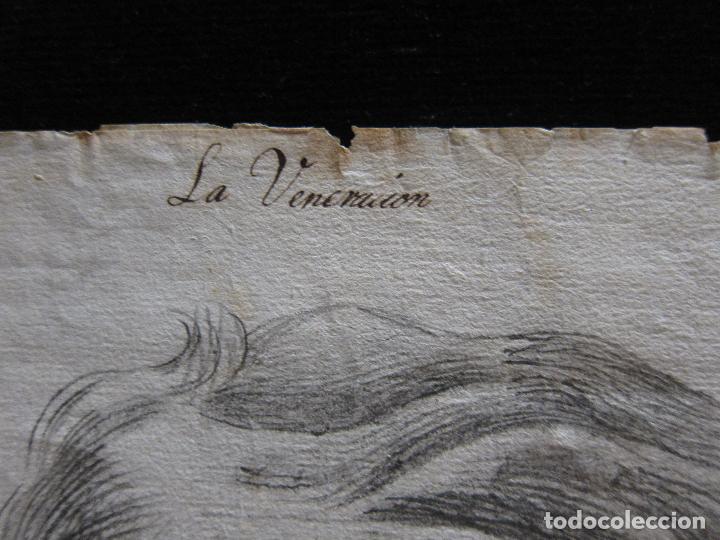 Arte: TRES DIBUJOS: El llanto. Colera. La veneración. LAPIZ Y TINTA. SIGLO XVIII - Foto 2 - 223512661