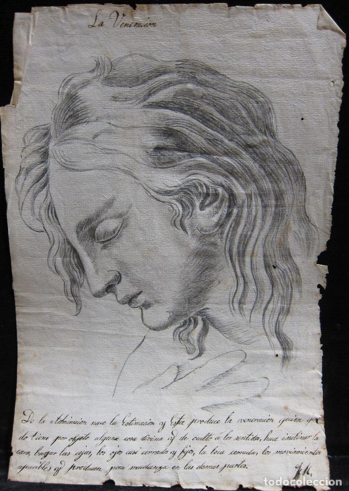 Arte: TRES DIBUJOS: El llanto. Colera. La veneración. LAPIZ Y TINTA. SIGLO XVIII - Foto 3 - 223512661