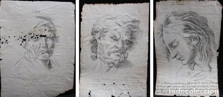 TRES DIBUJOS: EL LLANTO. COLERA. LA VENERACIÓN. LAPIZ Y TINTA. SIGLO XVIII (Arte - Dibujos - Antiguos hasta el siglo XVIII)