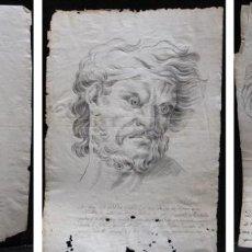 Arte: TRES DIBUJOS: EL LLANTO. COLERA. LA VENERACIÓN. LAPIZ Y TINTA. SIGLO XVIII. Lote 223512661
