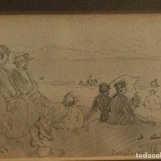 Arte: DOS DIBUJOS DE DIONISIO BAIXERAS VERDAGUER (1862-1943). VER FOTOGRAFÍAS.. Lote 223645970