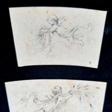 Arte: PAREJA DE BOCETOS REALIZADOS EN LÁPIZ PARA DECORACIÓN DE IGLESIA CON ANGELES. SIGLO XIX.. Lote 223911898