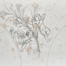 Arte: PAREJA DE BOCETOS REALIZADO EN LÁPIZ PARA DECORACIÓN DE IGLESIA CON ÁNGELES. SIGLO XIX.. Lote 223914368