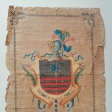 Arte: ESCUDO HERALDICO DE LOS MARTINEZ DE MARCILLA. TINTA, ORO Y GUACHE SOBRE PAPEL. XVIII.. Lote 224052691