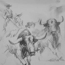 Arte: APUNTE DE ENCIERRO DE TOROS. Lote 224296541