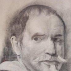 Arte: RETRATO A CARBONCILLO SOBRE PAPEL DE CABALLERO DE ÉPOCA. Lote 224474063
