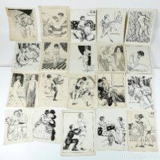 Arte: EROTISMO - 20 DIBUJOS PARA PUBLICACIÓN, ESPAÑA, 1950'S. 13X18 CM. APROX.. Lote 224490106