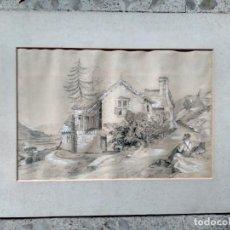 Arte: COTTAGE INGLÉS - ORIGINAL, FIRMADO Y FECHADO - LIZZIE HOBSON, 1896. Lote 224584312