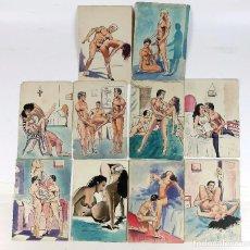 Arte: EROTISMO - 1O DIBUJOS, ACUARELA SOBRE PAPEL, 1950'S. PARA PUBLICACIÓN. ESPAÑA.. Lote 224664375