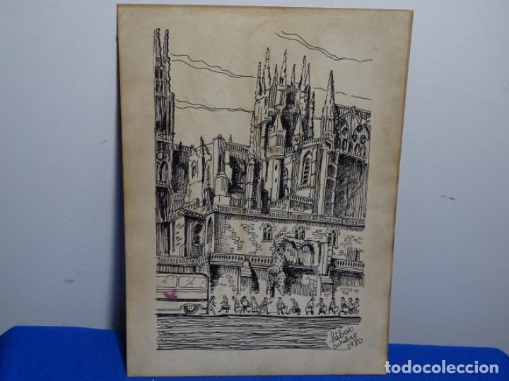 DIBUJO FIRMADO SABAT 1980.CATEDRAL. (Arte - Dibujos - Contemporáneos siglo XX)