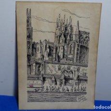 Arte: DIBUJO FIRMADO SABAT 1980.CATEDRAL.. Lote 224788898