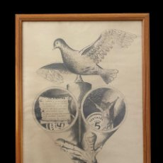 Arte: GRAN DIBUJO A LÁPIZ DE UN REPUBLICANO, LA PAZ, LA LIBERTAD .....AÑO 80, FIRMADO JESÚS B.. Lote 224992220