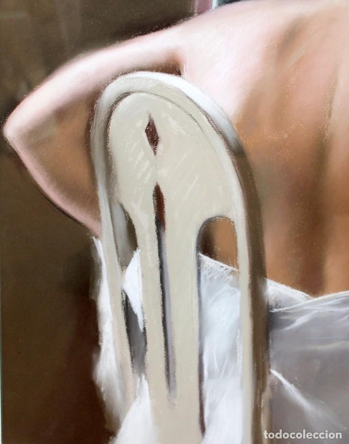 Arte: DOMINGO ALVAREZ GOMEZ (1942) DIBUJO A PASTEL. JOVEN FRENTE AL ESPEJO - Foto 6 - 225089965
