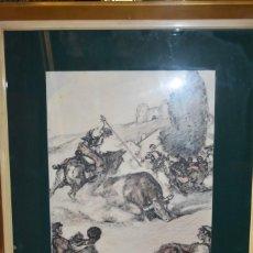 Arte: DIBUJO A COLOR DEL TORO DE LA VEGA DEL PINTOR MARTÍNEZ DE LEÓN. Lote 225194340