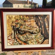 Arte: ANTIGUO CUADRO ABSTRACTO DEL PARQUE GUELL DE BARCELONA POR EL AUTOR SERGÈ AÑO 1996. Lote 225212716