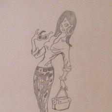 Arte: JOAQUIM MUNTAÑOLA. DIBUJO A LÁPIZ CHICA HIPPIE. FIRMADO A MANO. 34X22,5 CM. BUEN ESTADO.. Lote 225319828