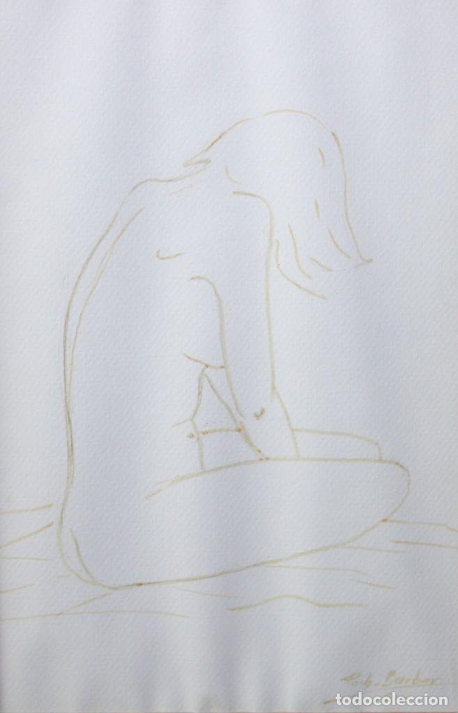 ENRIQUETA POCH BARBER (GIRONA, 1943) DIBUJO A TINTA DEL AÑO 1990. JOVEN DE PERFIL (Arte - Dibujos - Contemporáneos siglo XX)