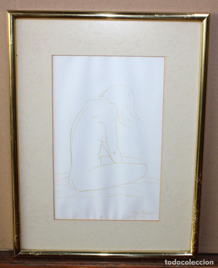 Arte: ENRIQUETA POCH BARBER (Girona, 1943) DIBUJO A TINTA DEL AÑO 1990. JOVEN DE PERFIL - Foto 2 - 225802515