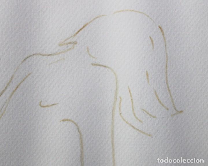 Arte: ENRIQUETA POCH BARBER (Girona, 1943) DIBUJO A TINTA DEL AÑO 1990. JOVEN DE PERFIL - Foto 3 - 225802515