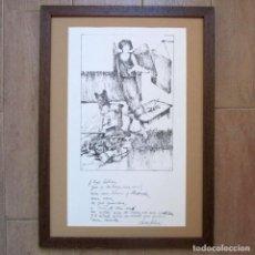Arte: DIBUJO ORIGINAL ENMARCADO A TINTA SOBRE PAPEL GVARRO FIRMA J.P.S. 1981 CON POESÍA DE LEÓN FELIPE. Lote 225844290