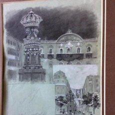 Arte: MARIANO PEDRERO,DIBUJO ORIGINAL FIRMADO,EDIFICIOS DE ZARAGOZA,CASINO ,ALFONSO I ETC....45X32 CM. Lote 226025830
