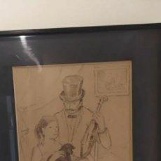 Arte: DIBUJO ORIGINAL DE SEBASTIÀ CONGOST I PLA (OLOT 1919-2009) CON MARCO, PASPARTU Y CRISTAL. Lote 226115340