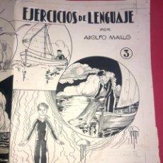 "Arte: DIBUJO ORIGINAL PARA PORTADA DE CUADERNO ESCOLAR ""EJERCICIOS DE LENGUAJE"" DE ADOLFO MAILLO. Lote 226365335"