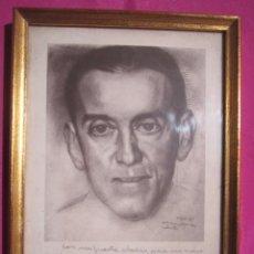 Arte: DIBUJO ORIGINAL DE PAULINO VICENTE DEDICADO A UN PERSONAJE ASTURIANO.. Lote 226383820