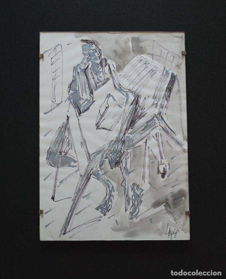 LASPIUR.- HOMBRE, MESA Y BOTELLA DE VINO (TÉCNICA MIXTA) (VER FOTOS ADICIONALES) (Arte - Dibujos - Contemporáneos siglo XX)