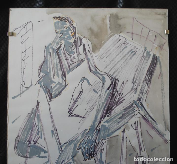 Arte: Laspiur.- Hombre, mesa y botella de vino (Técnica mixta) (ver fotos adicionales) - Foto 2 - 226630360
