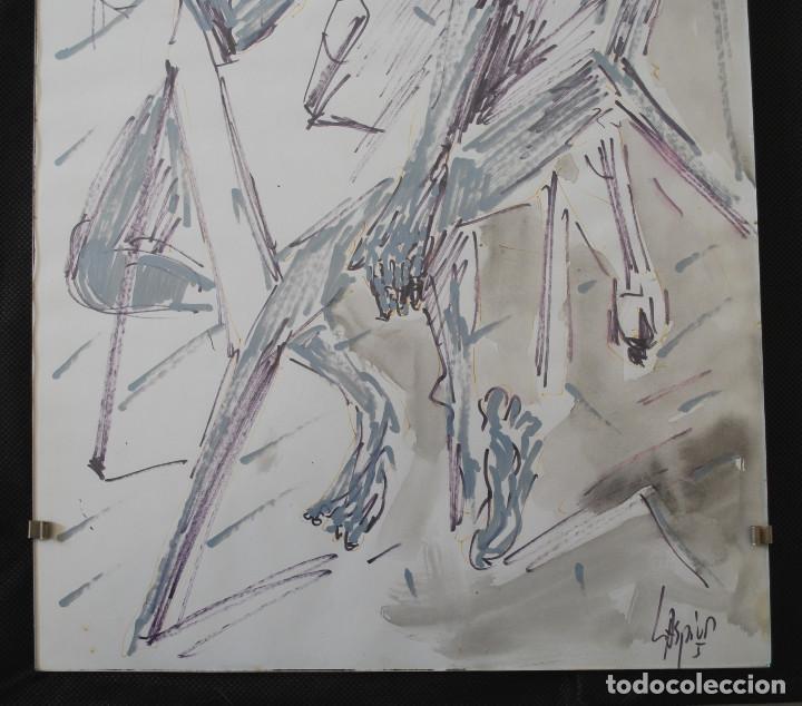 Arte: Laspiur.- Hombre, mesa y botella de vino (Técnica mixta) (ver fotos adicionales) - Foto 3 - 226630360