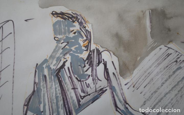 Arte: Laspiur.- Hombre, mesa y botella de vino (Técnica mixta) (ver fotos adicionales) - Foto 4 - 226630360