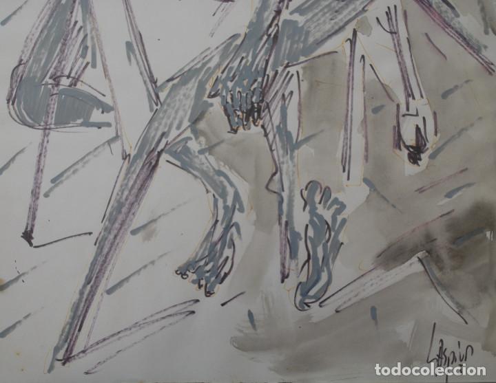Arte: Laspiur.- Hombre, mesa y botella de vino (Técnica mixta) (ver fotos adicionales) - Foto 5 - 226630360
