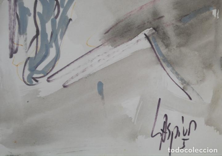 Arte: Laspiur.- Hombre, mesa y botella de vino (Técnica mixta) (ver fotos adicionales) - Foto 6 - 226630360