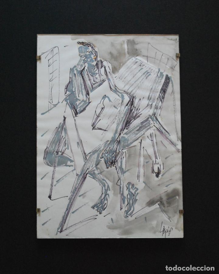 Arte: Laspiur.- Hombre, mesa y botella de vino (Técnica mixta) (ver fotos adicionales) - Foto 7 - 226630360